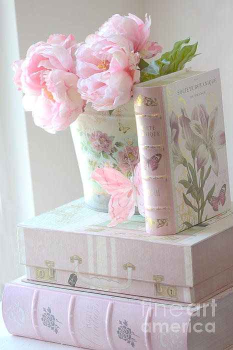 Dreamy Shabby Chic Pink Peonies And Books   Romantic Cottage Peonies Floral  Art With Pink Books Art Print By Kathy Fornal