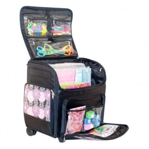 Rolling Scrapbook Organizer Tote Bag Storage Scrapbooking Craft