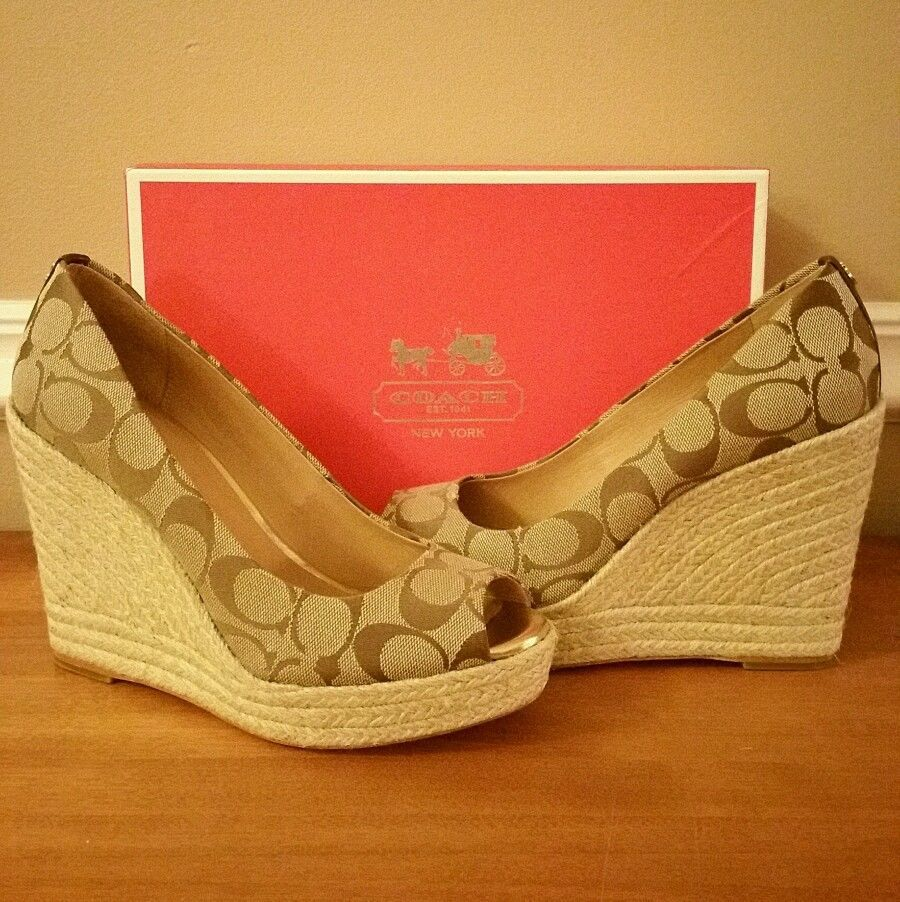 abd8ac9634e COACH Brown/Tan Print-Canvas *MILAN* Espadrille Wedge Shoes Sz 8 ...