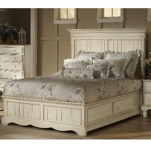 Hillsdale Wilshire Antique White Panel Platform Storage Bed With