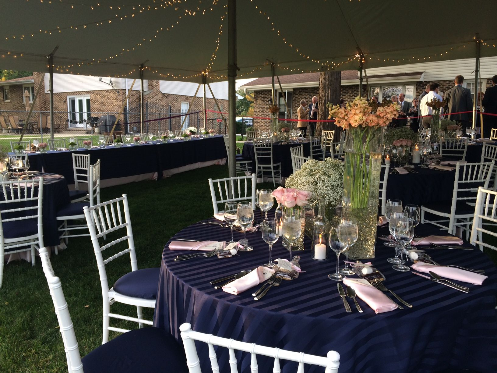 Outdoor Wedding Table Setting - Navy Blue White and Light Pink & Outdoor Wedding Table Setting - Navy Blue White and Light Pink ...