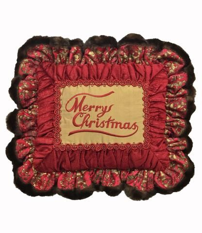 HALF-OFF SALE!!! July 1-5,2016  Merry Christmas Ruffled Christmas Pillow 17x13(not incl. ruffle)