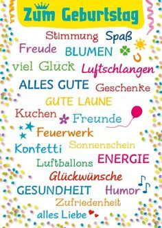 Bunte Geburtstags Gruesse Grusskarte Postkarte