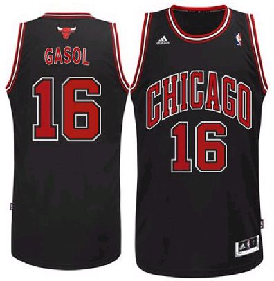 8083345c2ee4 Adidas NBA Chicago Bulls 16 Pau Gasol New Revolution 30 Swingman Home Black  Jersey