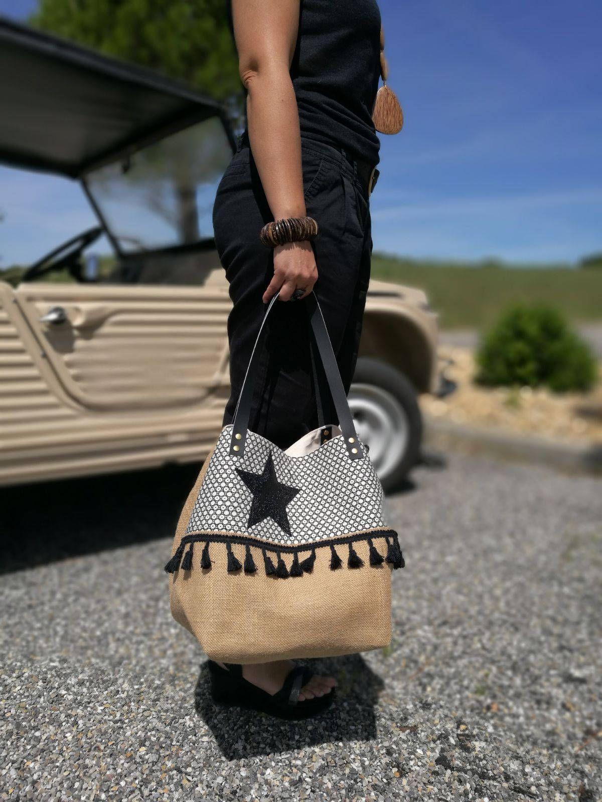 tote bag black star burlap woven cotton and imitation. Black Bedroom Furniture Sets. Home Design Ideas