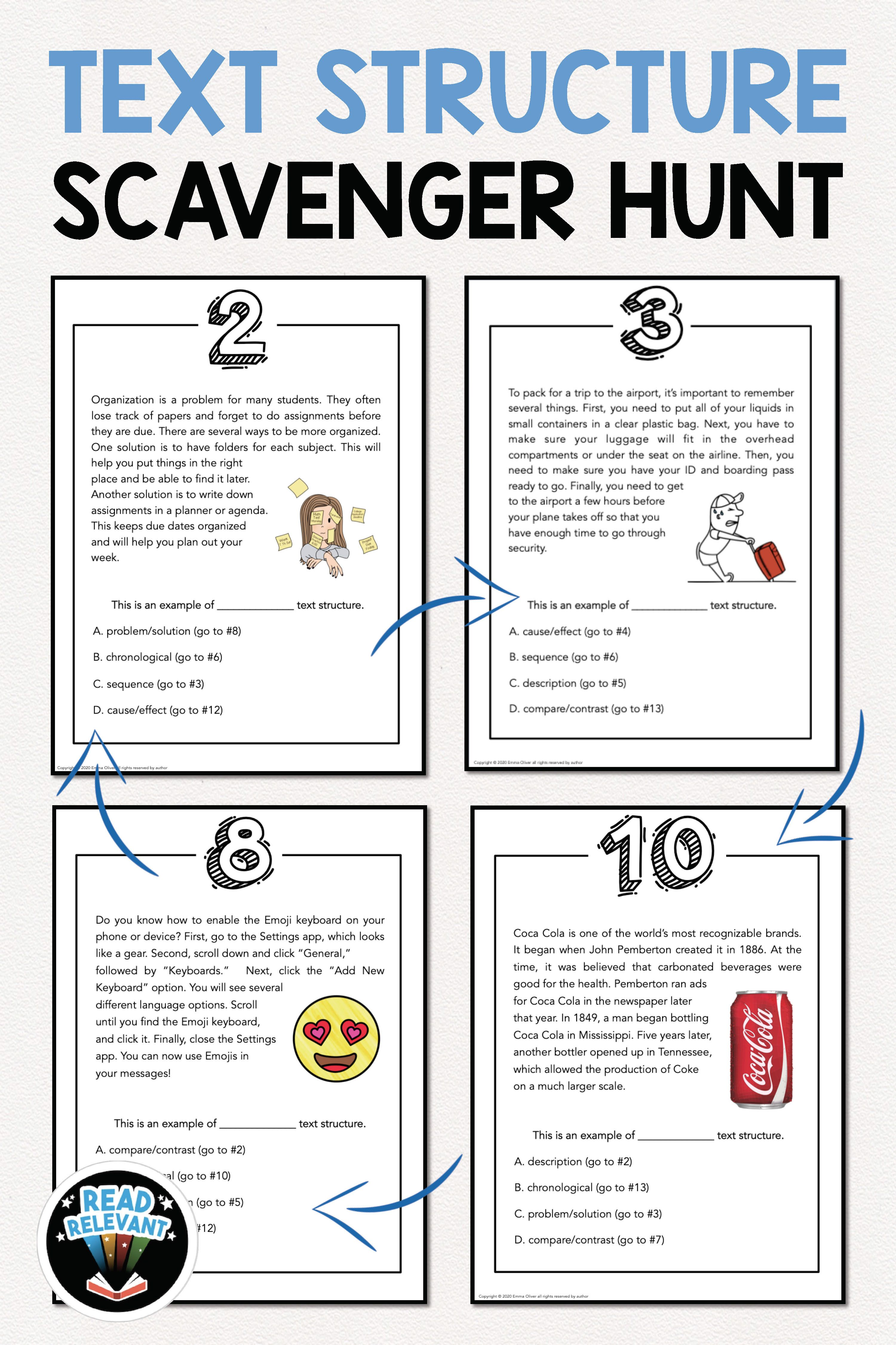 Text Structure Scavenger Hunt Activity