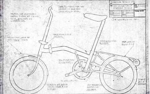 Bicicleta Brompton – 1975 Los primeros bocetos de la famosa bicicleta plegable urbana Brompton diseñada en el Reino Unido por Andrew Ritchie en 1975.