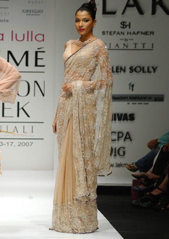 Neeta Lulla At Lakme Fashion Week French Chiffon Chantilly Lace Saree