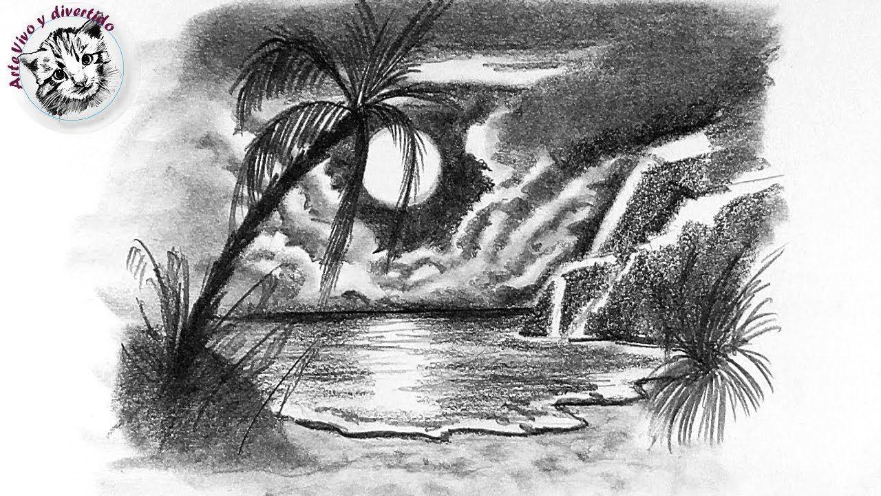 Como Dibujar Una Playa Tropical De Noche Con Lapiz Muy Dibujos A Lapiz Dibujos A Lpiz Dibujos Arte Dibujos Faciles Dibujo Abstract Artwork Art Abstract