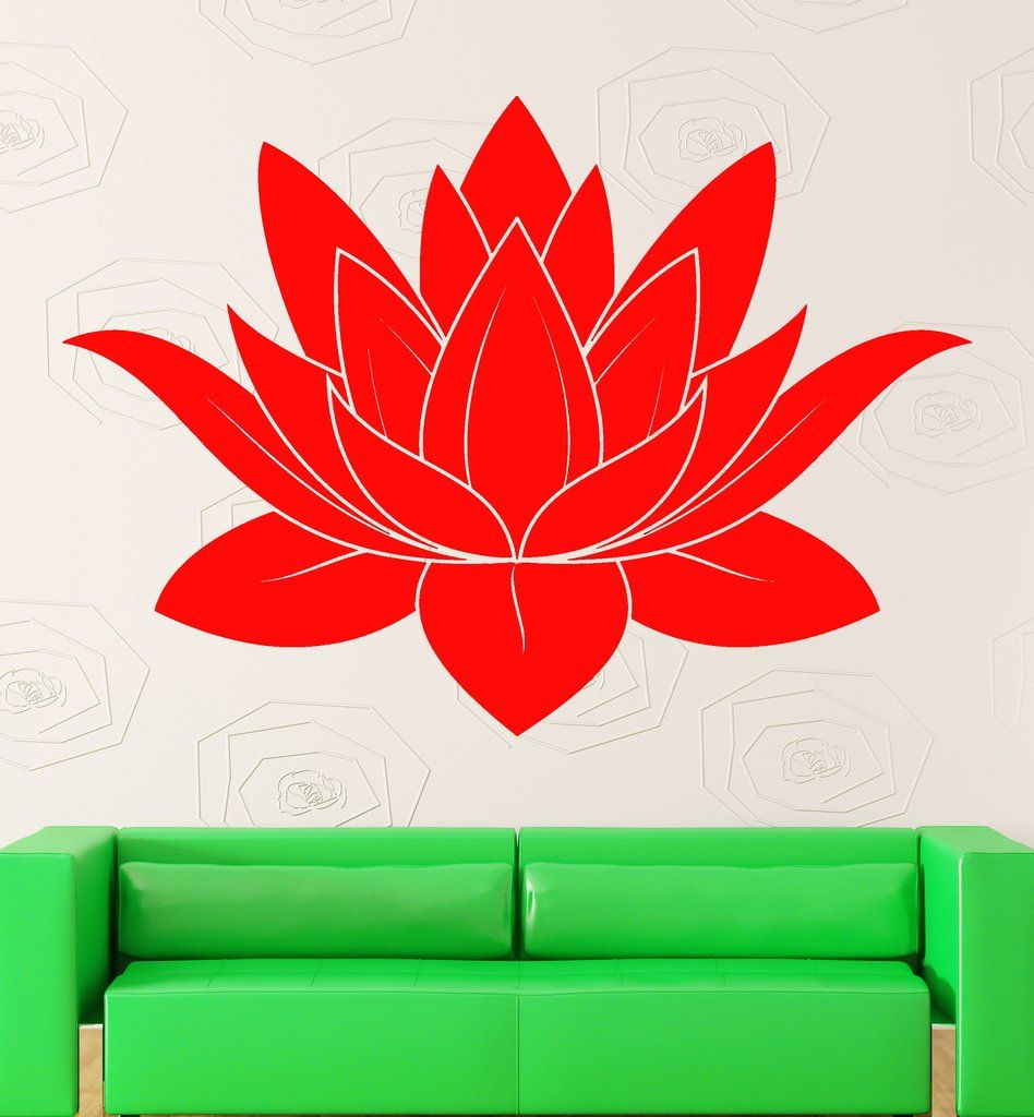 Wall Stickers Vinyl Decal Lotus Flower Buddhism Symbol Of Purity