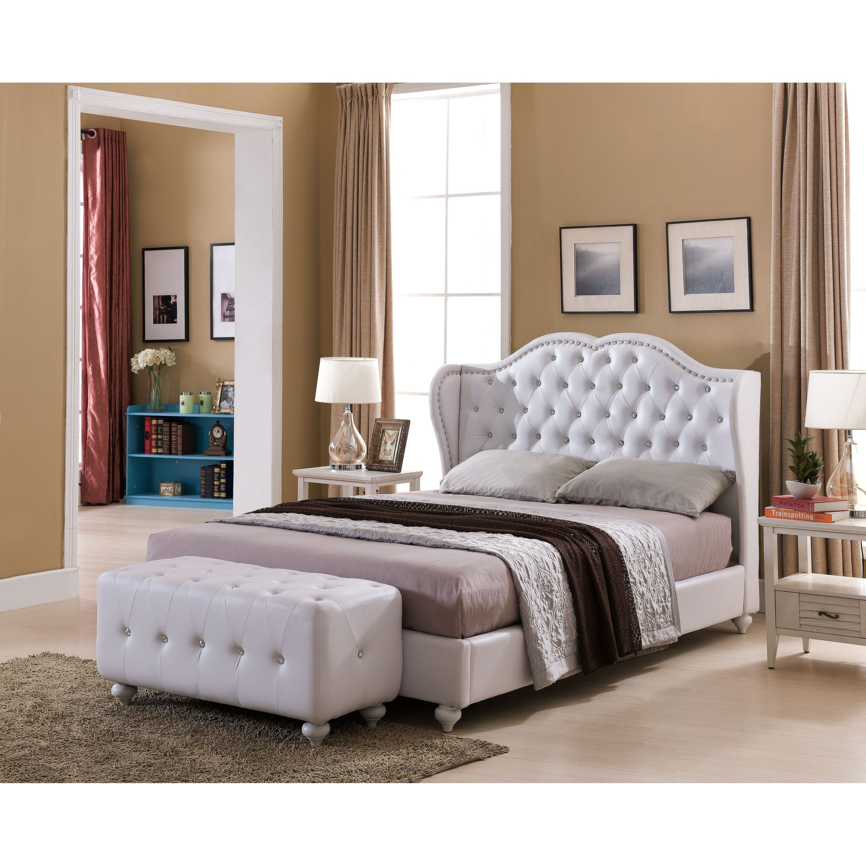 White Leather Upholstered Solid Wood Bed Frame (White