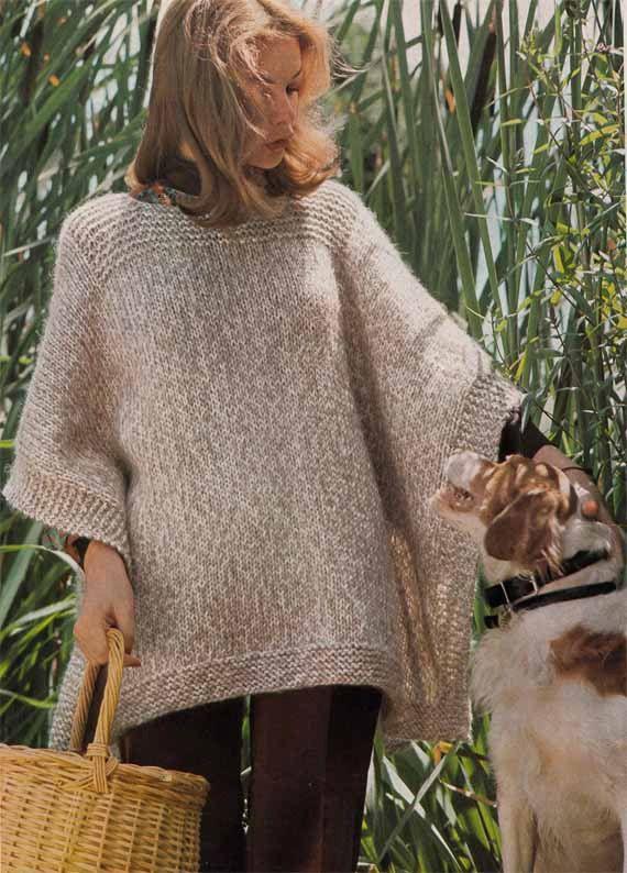 1970s Boho Vintage Poncho Vtg Knitting Pattern Easy Quick Knit