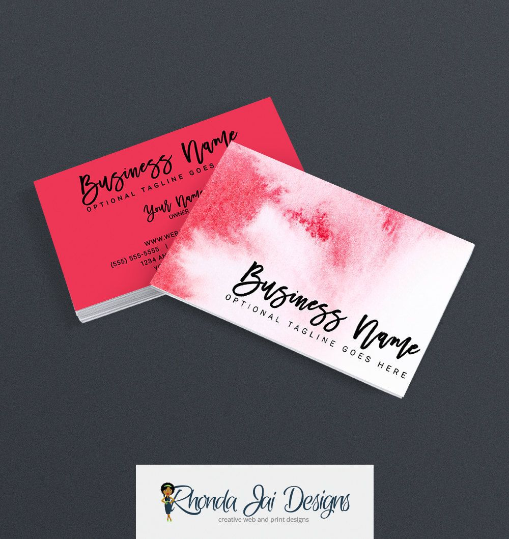 Etsy Shop Business Cards - Business Card Design - Watercolor ...
