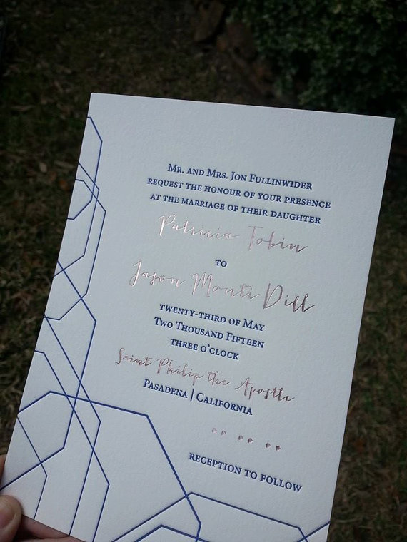 Rose Gold Foil And Navy Letterpress Wedding Invitations Modern Geometric Invites Hot Stamped