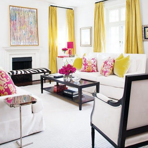Love These Pops Of Color In A Black And White Room! Not Crazy About The  Pink/yellow Pillows, But The Yellow Curtains Paired With Black And White Is  ...