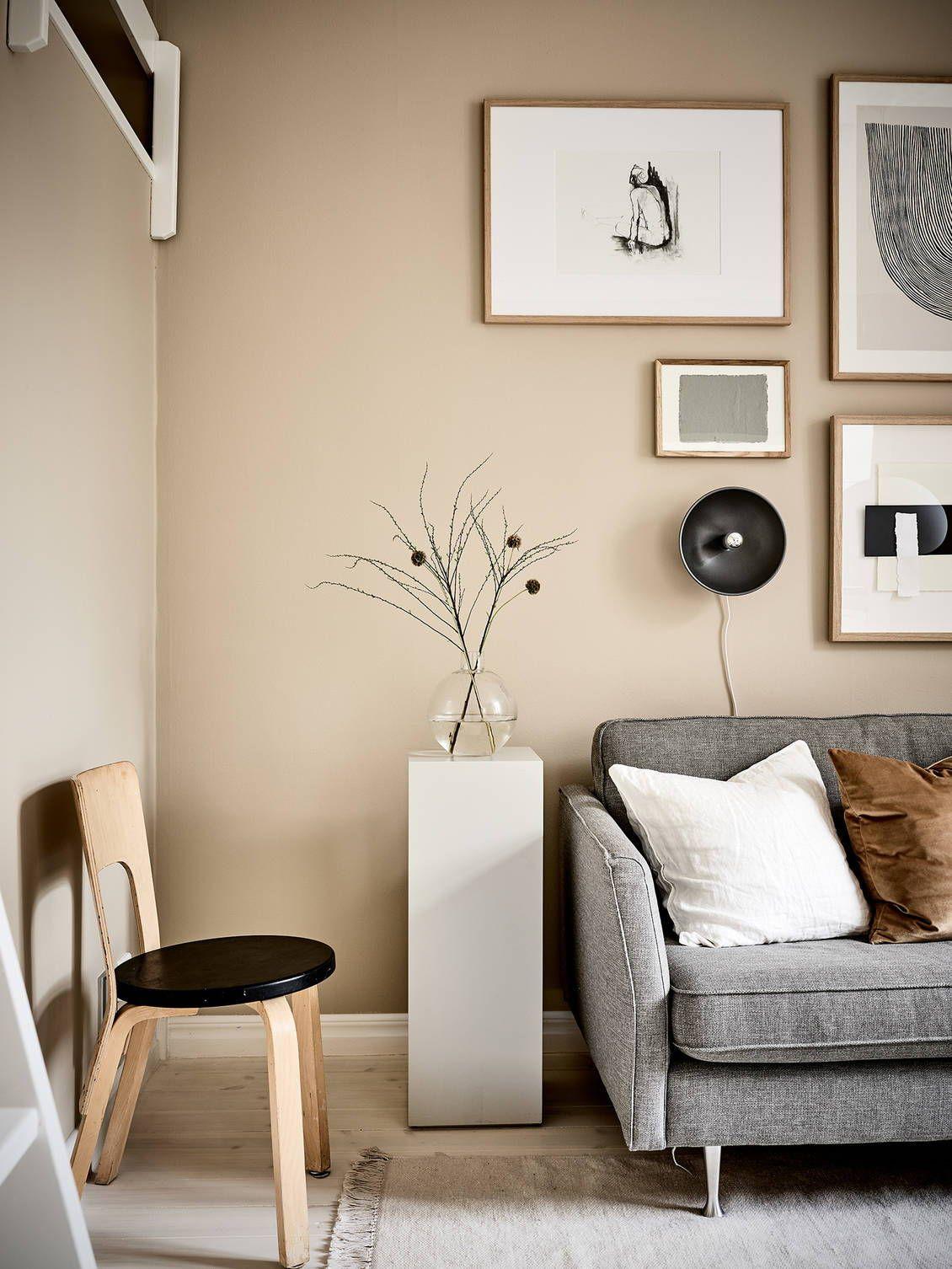 Small Studio With Beige Walls Coco Lapine Design Beige Living Rooms Small Room Design Living Room Decor Neutral