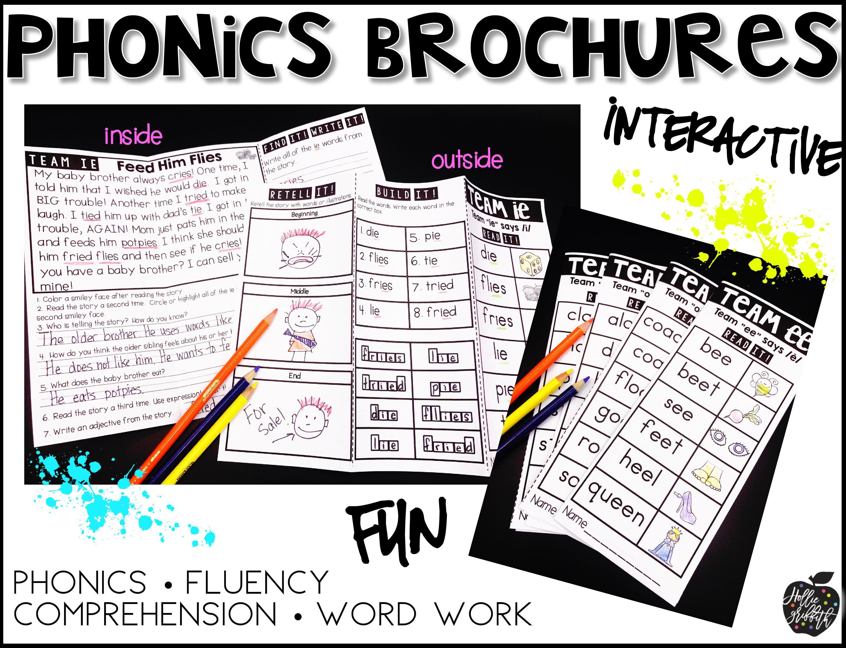Phonics Brochures Vowel Teams Reading Passage Freebie Ie
