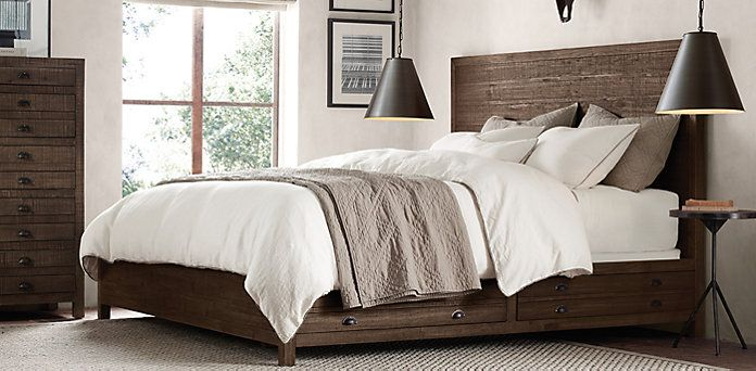 Bedroom Sets Restoration Hardware restoration hardware ~$3000 bed with storage. nice rustic but