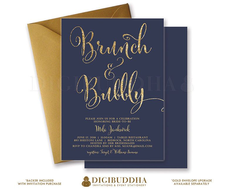 free bridal shower advice card template%0A BRUNCH  u     BUBBLY INVITATION Bridal Shower Invite Navy Blue and Gold Glitter  Calligraphy Modern Classic Free
