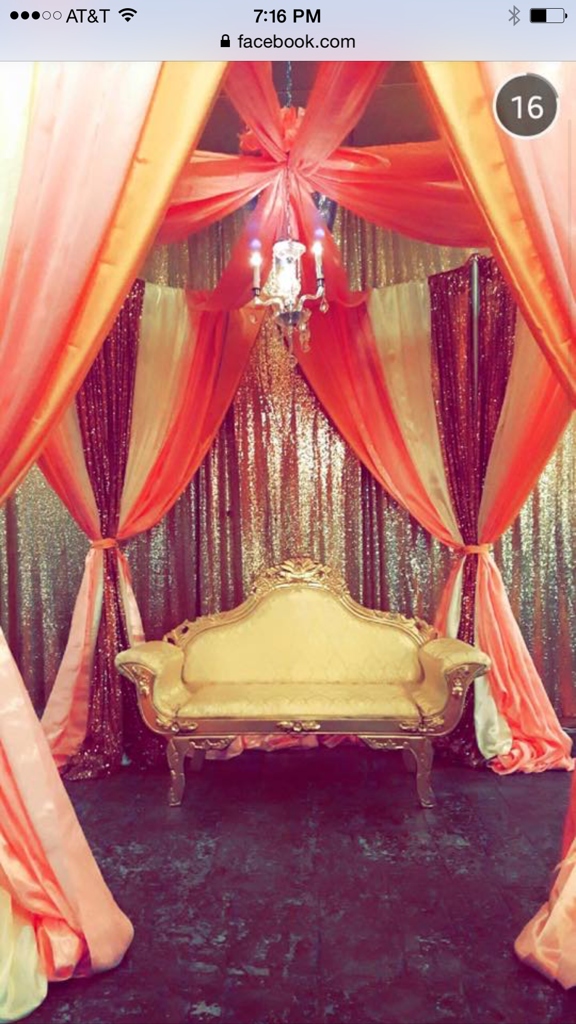 Peach Ivory Gold Pink Wedding Reception Ceremony Canopy