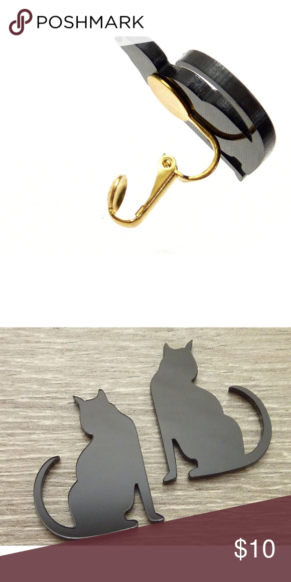 Black Cat Clip On Earrings Black Cat Silhouette Clip On Earrings Black Cat