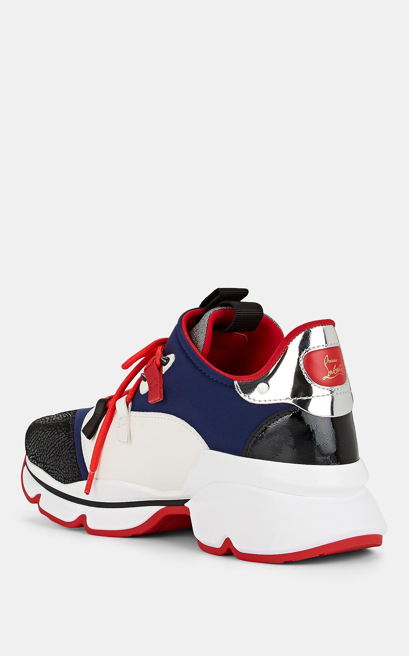 9f18537fb6b5 Christian Louboutin Men s Red-Runner Mixed-Material Sneakers - Navy ...