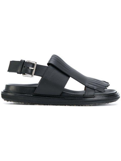 fringed slingback sandals - Black Marni TeXqFTQHN
