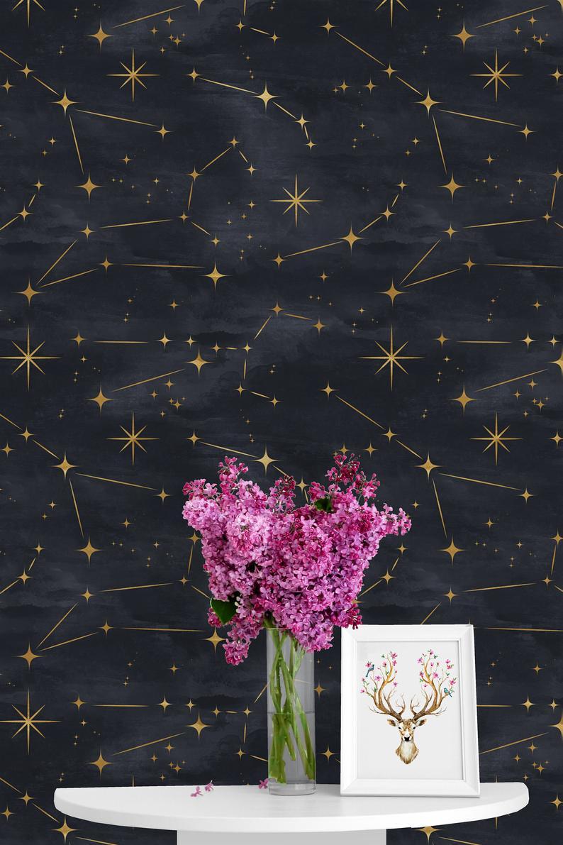 Watercolor Stars Removable Wallpaper Peel Stick Mural Etsy Nursery Mural Removable Wallpaper Wallpaper