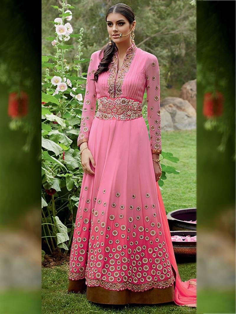 Pink  Color Heavy Embroidered Anarkali Suit for Diwali