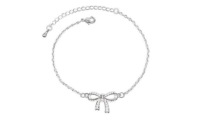 White Gold Plated Crystal Bow Bracelet Look Glamorous Every Day With The