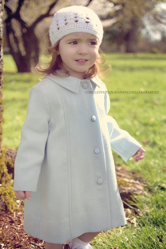 Girls Wool Coat in Baby Blue Twill. Toddler, Kids Size 2t, 3t, 4t ...