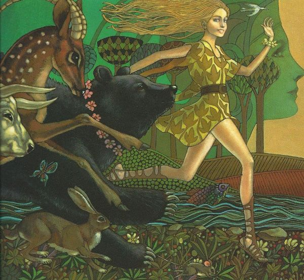 Leo and Diane Dillon - Book Cover: The Race of the Golden Apples. Tags: atalanta, atalante, transformations,