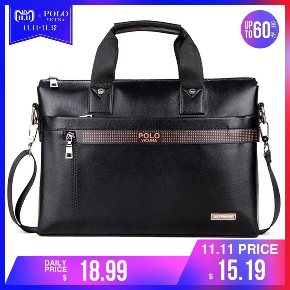 VICUNA POLO Top Sell Fashion Simple Dot Famous Brand Business Men Briefcase Bag  Leather Laptop Bag 4501bfdf84