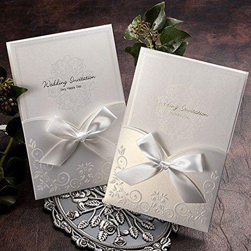 Satin Ribbon Wedding Pocket Invitation Kit Ga1016 Http Www Amazon Com Dp B00 Wedding Invitation Ribbon Pocket Wedding Invitations Wedding Invitation Cards