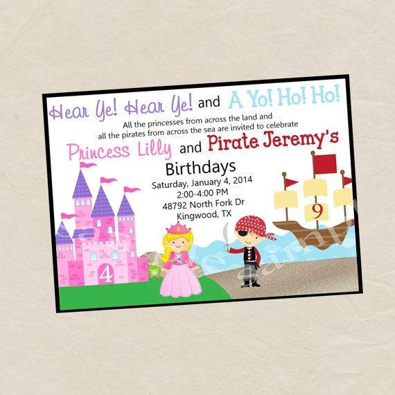 Princess and pirate birthday party invitation perfect for brothers princess and pirate birthday party invitation perfect for brothers and sister parties filmwisefo