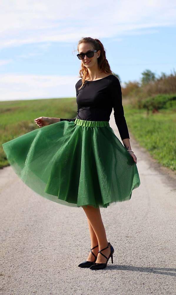 99df14036f5c Sukne - Tylová sukňa MIDI tmavo zelená - od ZuzanaZachar