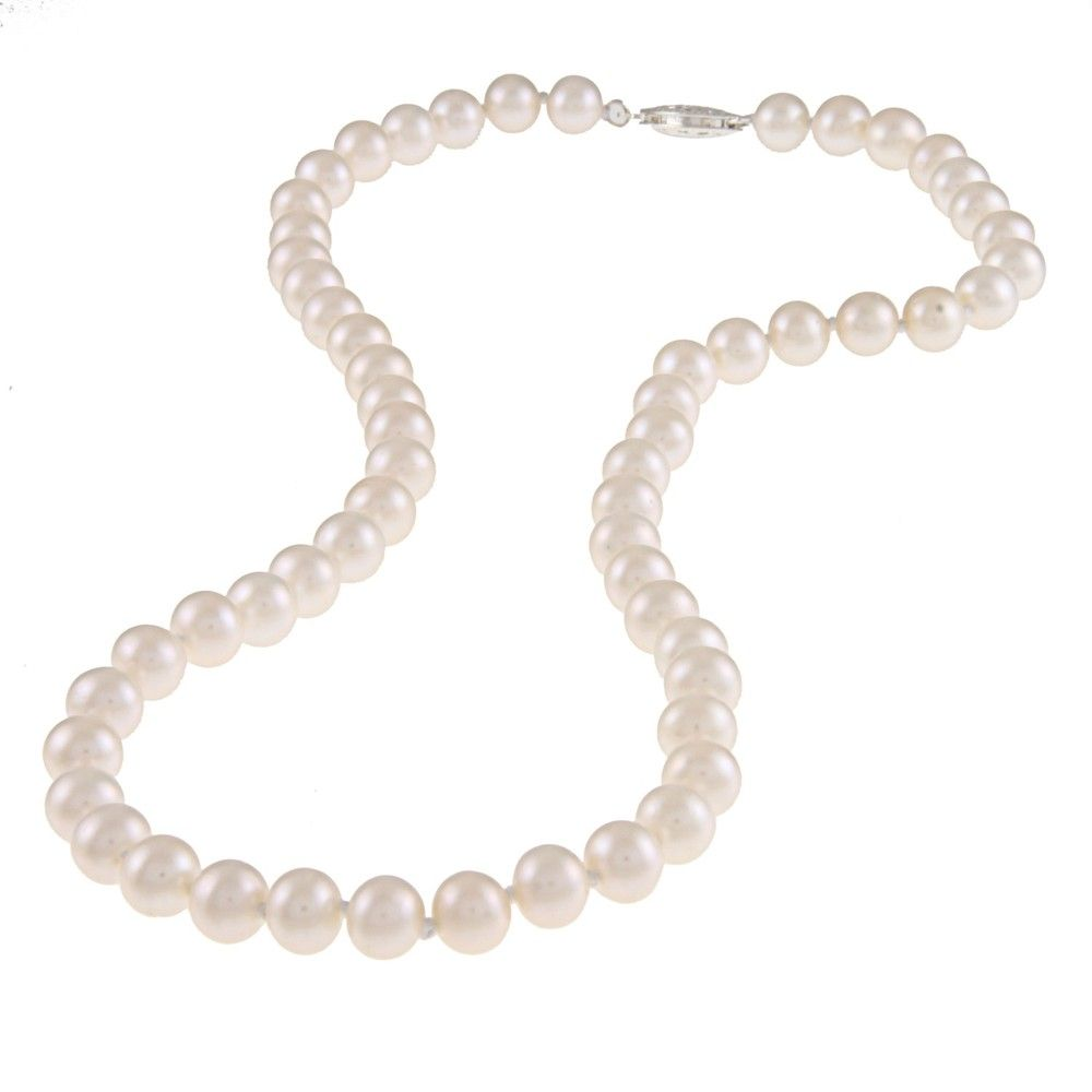 """16/"""" 6.5-7 mm Freshwater Cultured Pearl Necklace w// Silver Fish Eye Clasp"""