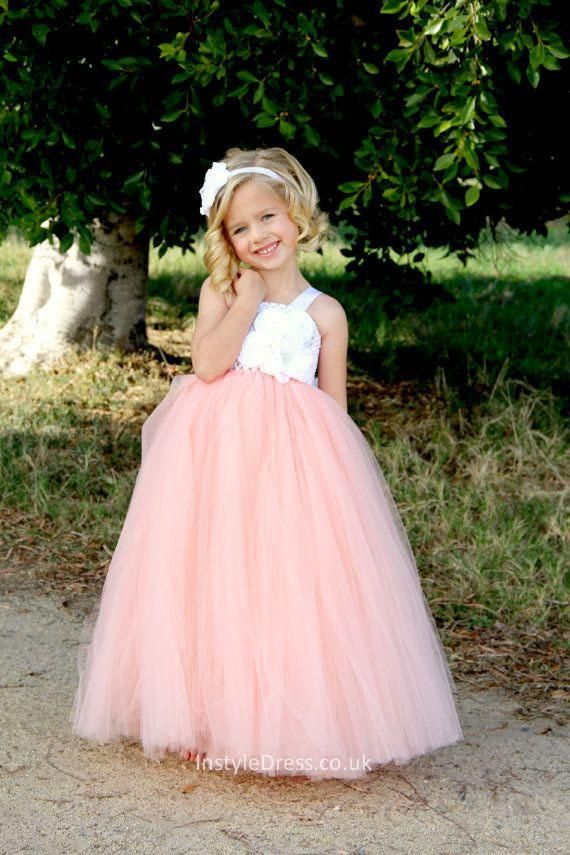 White and pink two tone floor length tulle flower girl dress dusky white and pink two tone floor length tulle flower girl dress mightylinksfo