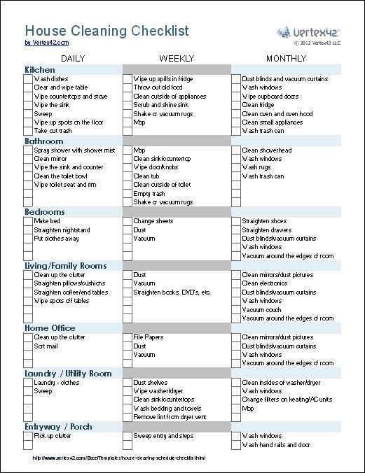 Cleaning Checklist Vertex  Wedding Agenda House Cleaning
