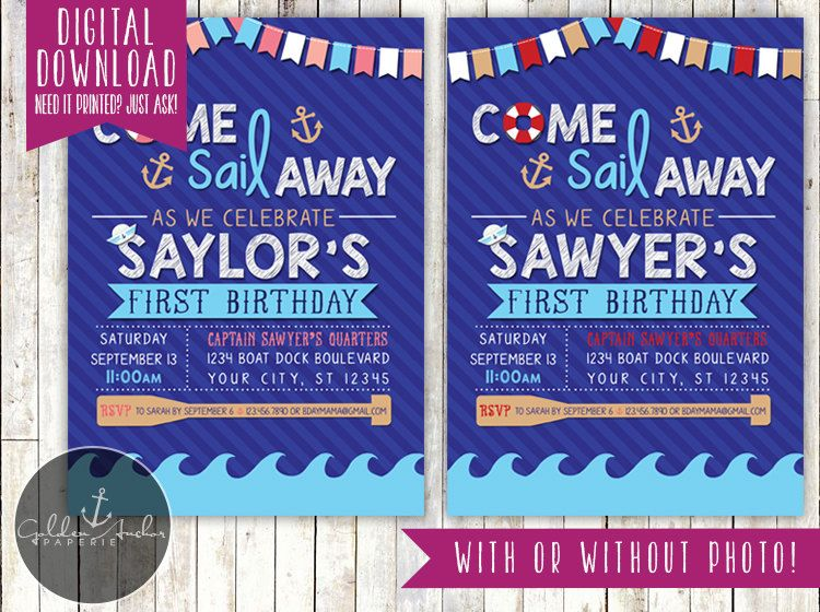 Sailor Birthday Party Invitation Nautical Invite Photo