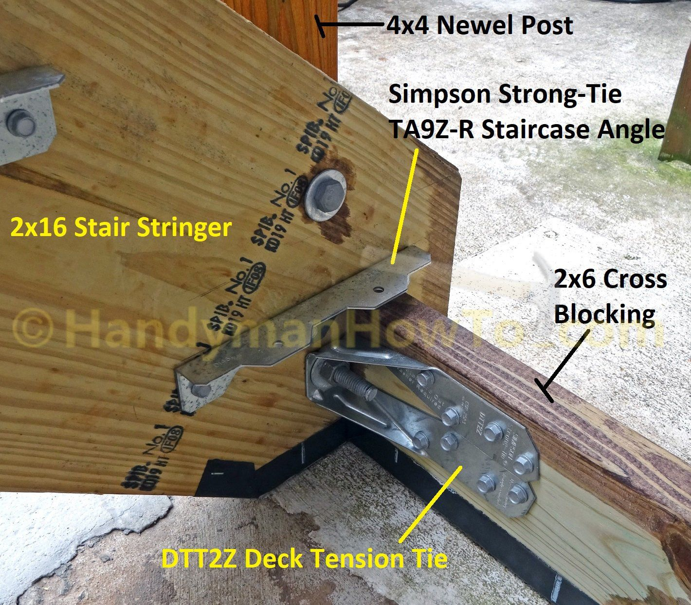 Install Wood Deck Stair Stringers And 4x4 Newel Posts Mount The 2x12 Stringers Anchor 4x4 Newel Posts To A Co Deck Stair Stringer Stairs Stringer Deck Stairs