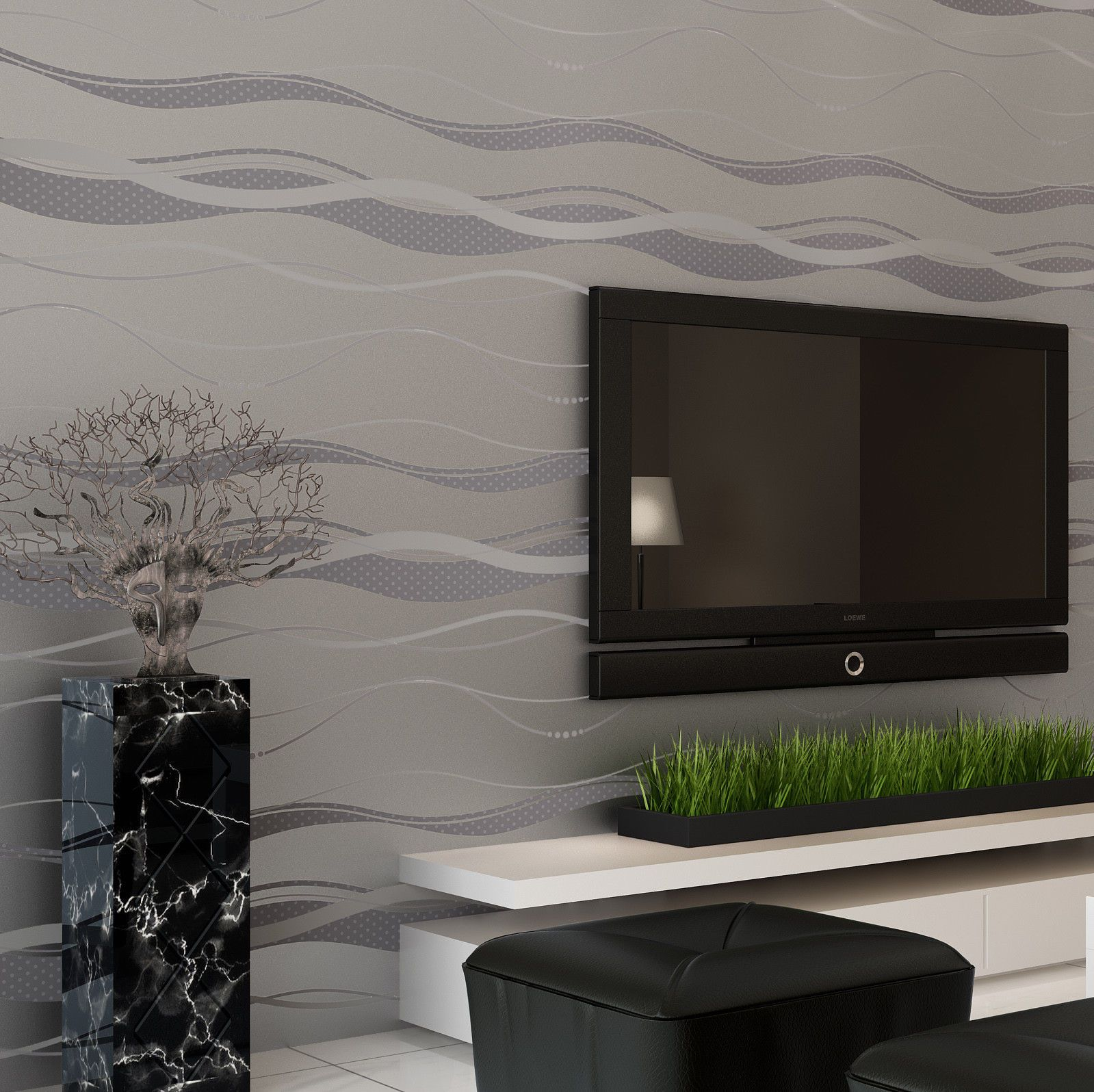 57 Sq Feet Roll Modern Simple Style Waves Lines Strips Silver & Grey