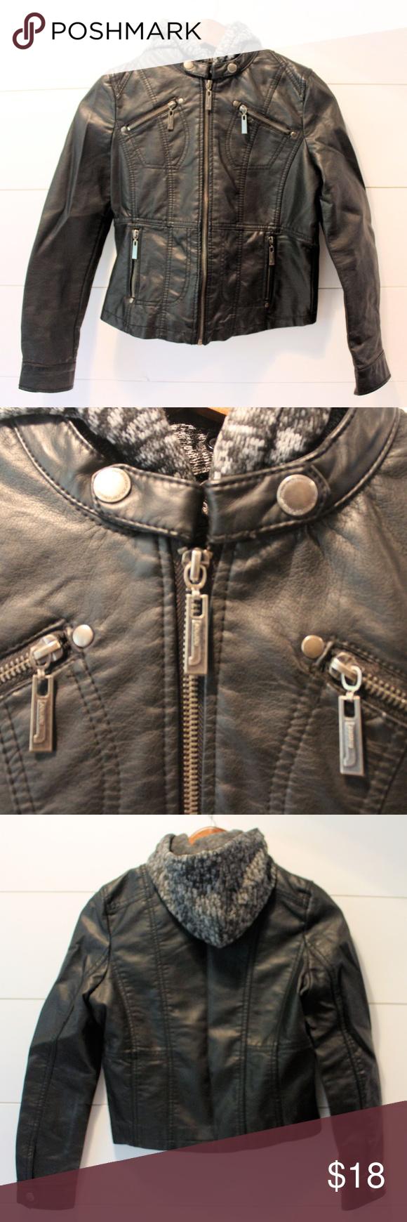 Girl's JouJou Faux Leather Hooded Moto Jacket Moto