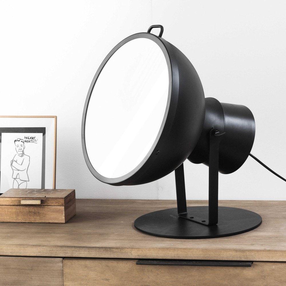 Lampe orientable en métal noir et Plexiglas