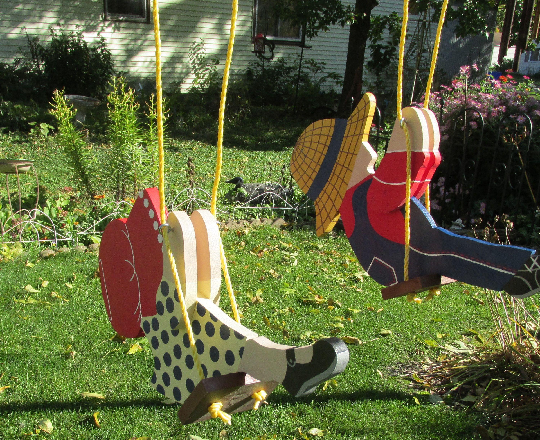 Tree Ornament Hanging Yard Art Wood Children Swinging Vintage Set Of 2 Lawn Decoration Hanging Yard Art Wood Yard Art Yard Art