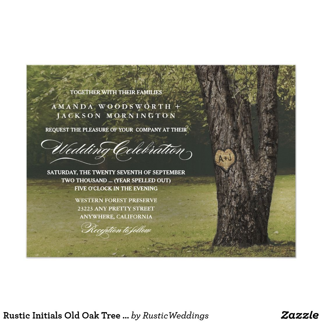 Rustic Initials Old Oak Tree Wedding Invitations Country Wedding