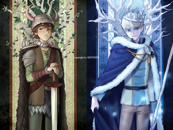 Hiccup Haddock III and Jack Frost, Princes of the Autumn and Winter Realms
