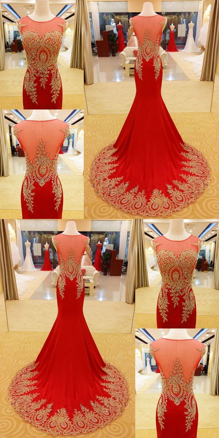 Mermaid prom dresses scoop sweep train long red prom dress sexy