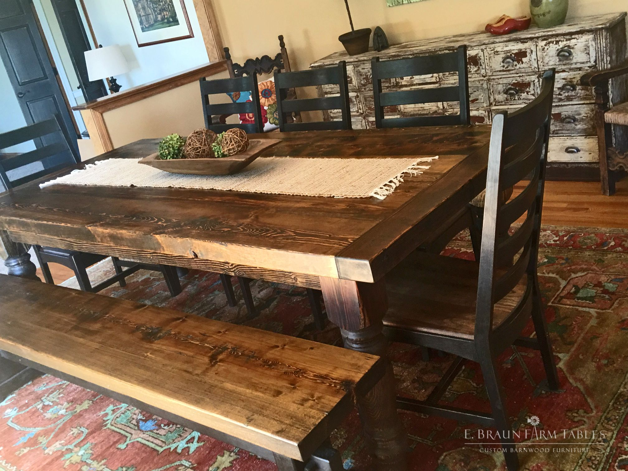 """3"""" thick top reclaimed spruce barn wood table with 5"""" turned legs"""