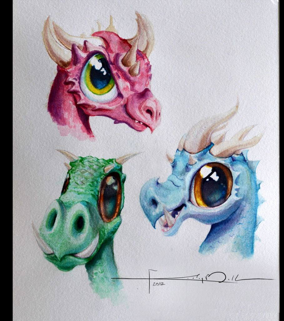 Watercolor Dragons Waterverf in 2019